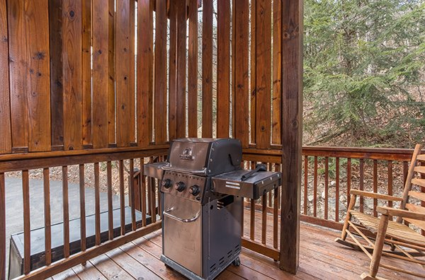 Grill on the deck at 5 Star Celebration, a 1 bedroom cabin rental located in Pigeon Forge