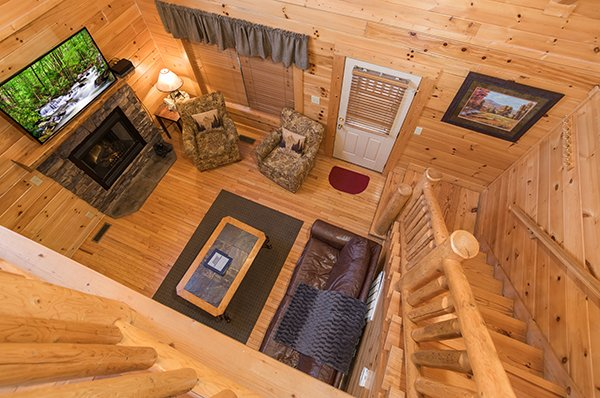living room from above at 5 little cubs a 2 bedroom cabin rental located in pigeon forge