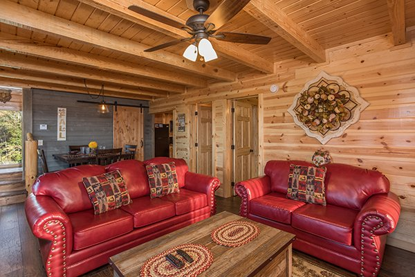 Living room with sofa bed at The Sugar Shack, a 2 bedroom cabin rental located in Pigeon Forge