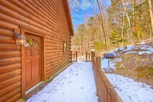 Deck entry at Secluded Pleasure, a 1 bedroom cabin rental located in Pigeon Forge