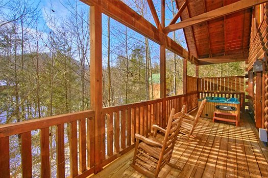 Winter mountain views from the deck at Secluded Pleasure, a 1 bedroom cabin rental located in Pigeon Forge