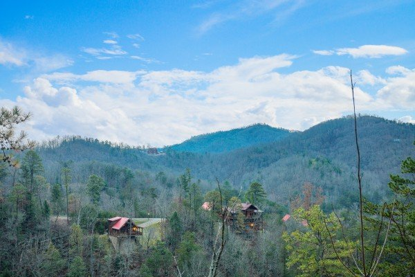 The beautiful Smoky Mountain view from the deck at Black Bear Hide-out, a 3-bedroom cabin rental located in Pigeon Forge