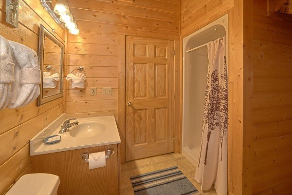Bathroom with a walk in shower at A Place to Remember, a 2 bedroom cabin rental located in Gatlinburg