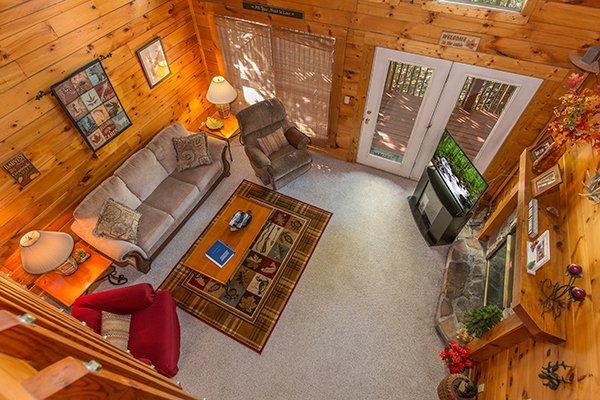 Overhead view of the living room at A Honeymoon Haven, a 1 bedroom cabin rental located in Gatlinburg