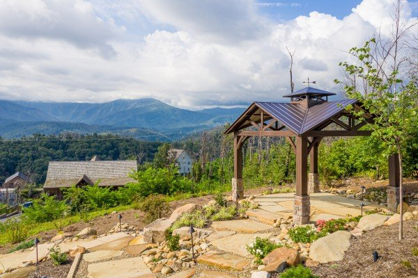 Pavilion and zen garden at Mountain Celebration, a 4 bedroom cabin rental located in Gatlinburg
