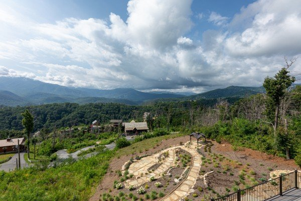 Looking down on the zen garden at Mountain Celebration, a 4 bedroom cabin rental located in Gatlinburg