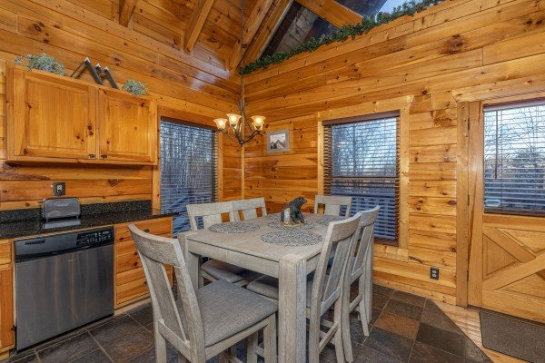 Dining table for six at A Bear on the Ridge, a 2 bedroom cabin rental located in Pigeon Forge