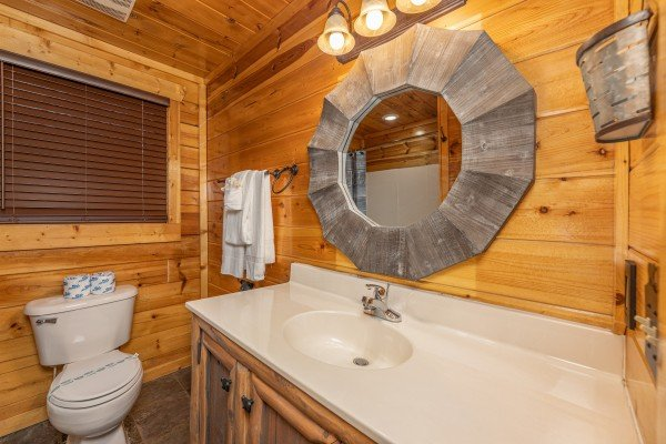 Bathroom at A Bear on the Ridge, a 2 bedroom cabin rental located in Pigeon Forge