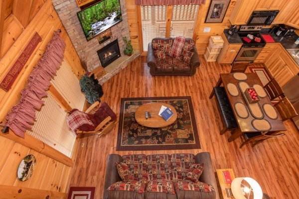 Overhead view of the living room at Bearfoot Memories, a 2-bedroom cabin rental located in Pigeon Forge