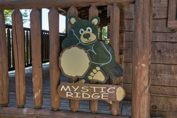 Custom sign at Mystic Ridge, a 4 bedroom cabin rental located in Pigeon Forge