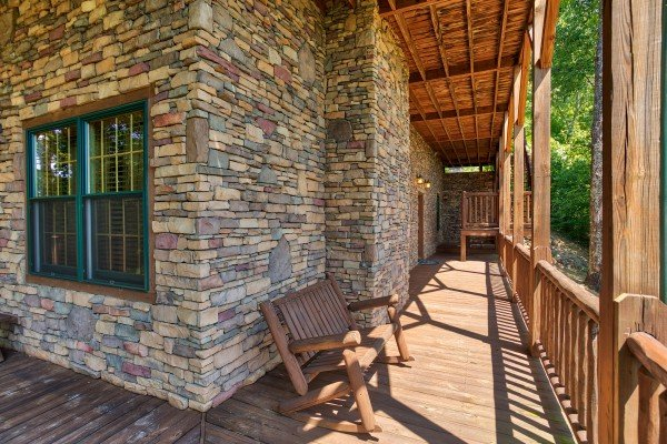 Bench rocker on the deck at Mystic Ridge, a 4 bedroom cabin rental located in Pigeon Forge