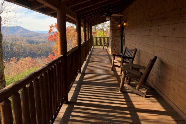 Deck views in the fall at Mystic Ridge, a 4 bedroom Pigeon Forge cabin rental