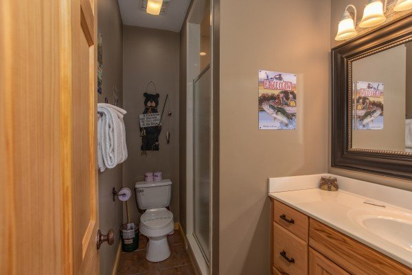 Bathroom with a walk in shower at Mystic Ridge, a 4 bedroom cabin rental located in Pigeon Forge