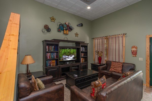 Second living room on the lower level at Mystic Ridge, a 4 bedroom cabin rental located in Pigeon Forge