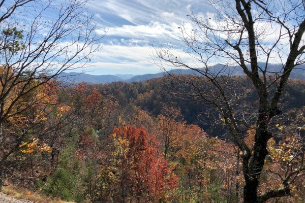 Smoky Mountain fall view at Mystic Ridge, a 4 bedroom Pigeon Forge cabin rental