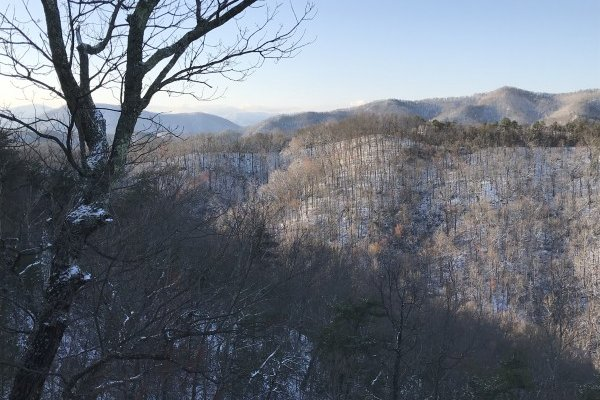 Snow on the mountains at Mystic Ridge, a 4 bedroom cabin rental located in Pigeon Forge