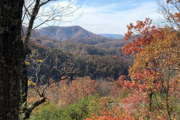 The view in fall at Mystic Ridge, a 4 bedroom Pigeon Forge cabin rental