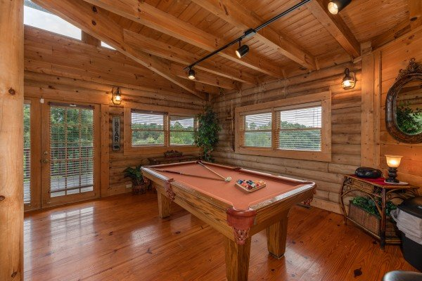 Pool table at Romantical Rendeviews, a 1 bedroom cabin rental located in Pigeon Forge