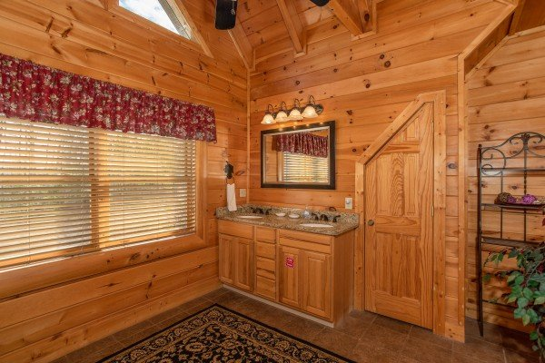 Double vanity sink in the loft bedroom at Better View, a 4 bedroom cabin rental located in Pigeon Forge