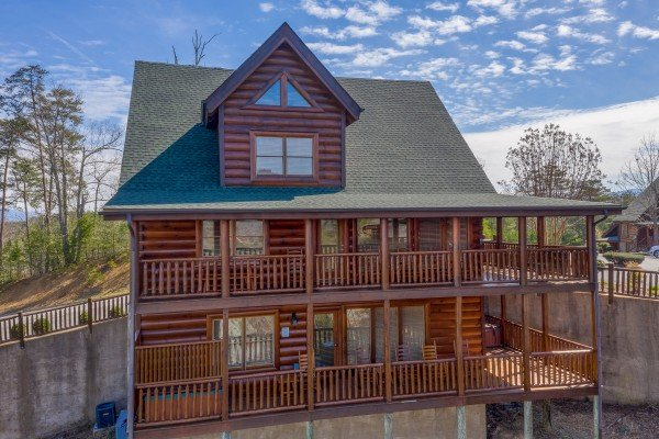 Looking back at the cabin at Better View, a 4 bedroom cabin rental located in Pigeon Forge