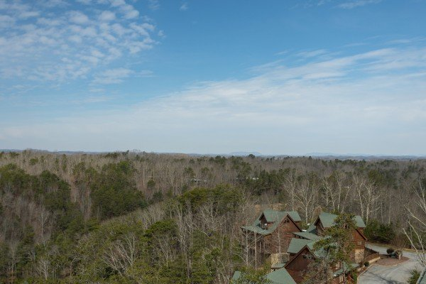 Looking at the valley and cabins in the resort at Better View, a 4 bedroom cabin rental located in Pigeon Forge