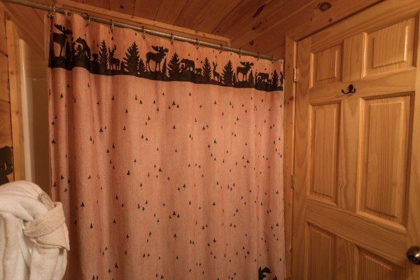 Shower in a bathroom at Better View, a 4 bedroom cabin rental located in Pigeon Forge