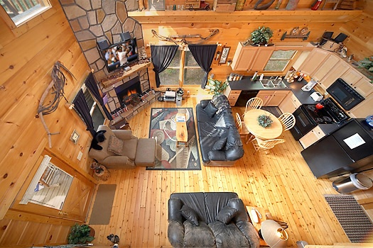 Aerial living room view at 2 Lovin' Bears, a 1 bedroom cabin rental located in Gatlinburg