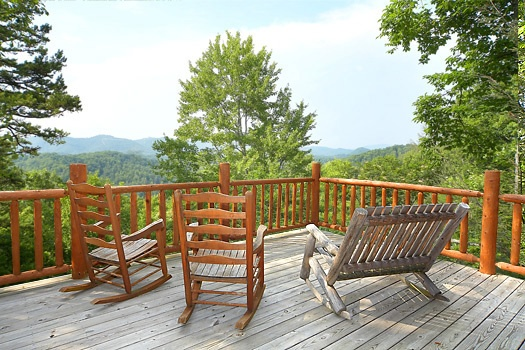 Enjoy the view from the deck at 2 Lovin' Bears, a 1 bedroom cabin rental located in Gatlinburg