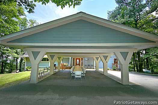 Carport that can convert into banquet space at Terrace Garden Manor, a 13 bedroom cabin rental located in Gatlinburg
