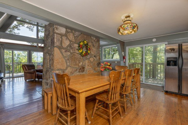 One of two dining spaces at Terrace Garden Manor, a 13 bedroom cabin rental located in Gatlinburg
