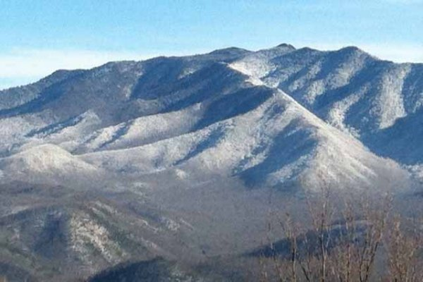 Snowy Smoky Mountains viewed at Terrace Garden Manor, a 13 bedroom cabin rental located in Gatlinburg
