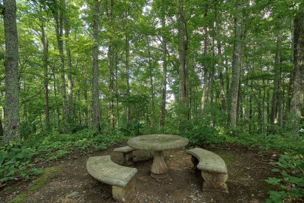Stone picnic table in the woods at Terrace Garden Manor, a 13 bedroom cabin rental located in Gatlinburg