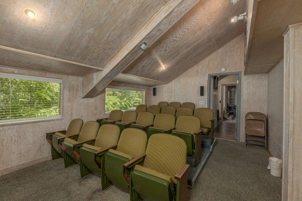 Theater room seating at Terrace Garden Manor, a 13 bedroom cabin rental located in Gatlinburg