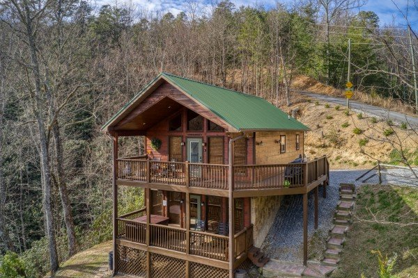 Looking back at the two level cabin and driveway at Secluded View, a 2-bedroom cabin rental in Pigeon Forge