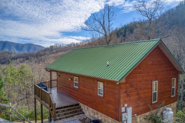 View of the cabin and surrounding mountains at Secluded View, a 2-bedroom cabin rental in Pigeon Forge