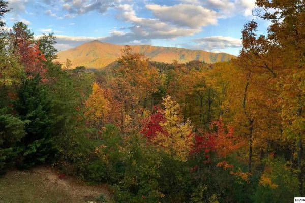 Fall colors and mountain views from the deck at Secluded View, a 2-bedroom cabin rental in Pigeon Forge