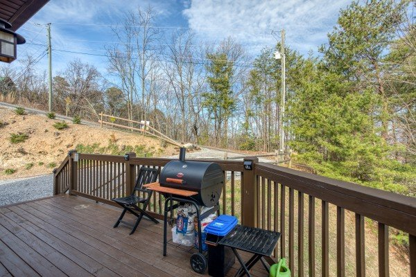 Grill on the deck at Secluded View, a 2-bedroom cabin rental in Pigeon Forge