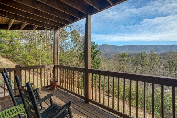 Rocking chairs on a covered deck overlooking the mountain view at Secluded View, a 2-bedroom cabin rental in Pigeon Forge