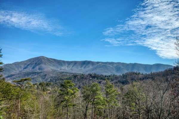 Winter mountain view at Secluded View, a 2-bedroom cabin rental in Pigeon Forge