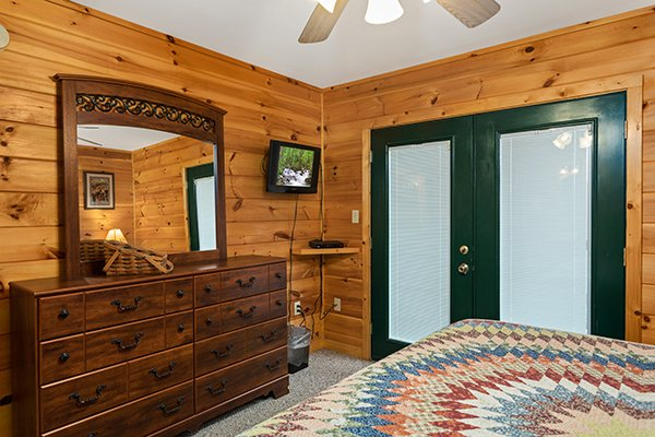Dresser with TV and dresser at Omg! A 2 bedroom cabin rental located in Gatlinburg