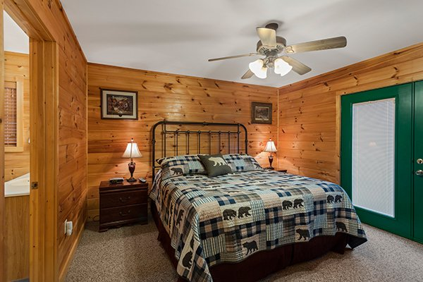 Bedroom with a king bed at Omg! A 2 bedroom cabin rental located in Gatlinburg