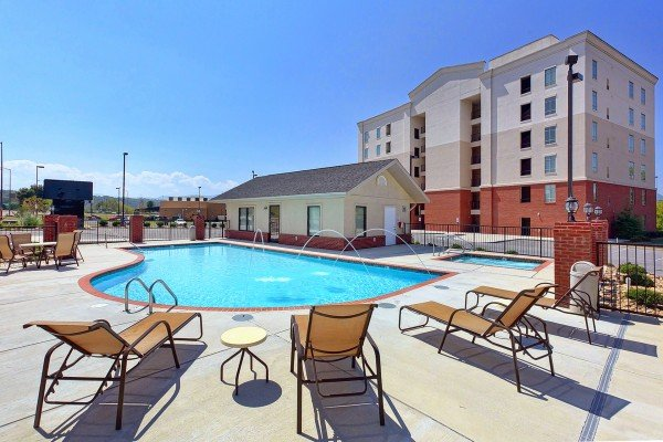 Condo resort pool access at River Dreamin', a 2 bedroom cabin rental located in Pigeon Forge