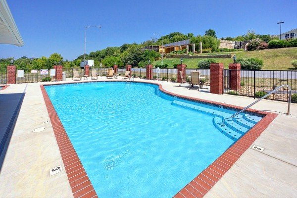 Pool access at River Dreamin', a 2 bedroom cabin rental located in Pigeon Forge