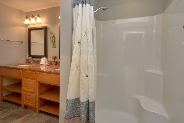 Bathroom with a large walk in shower at River Dreamin', a 2 bedroom cabin rental located in Pigeon Forge