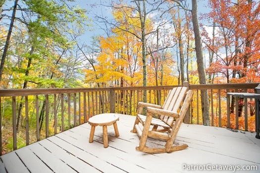 View of the fall foliage from the deck of Hooked on Bears, a 2 bedroom cabin rental located in Pigeon Forge