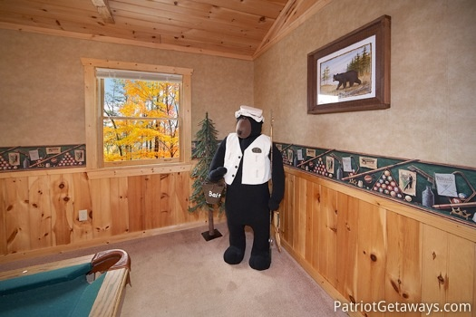 Life sized bear decor in loft at Hooked on Bears, a 2 bedroom cabin rental located in Pigeon Forge