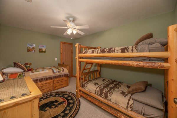 Bunk room at Lazy Bear Retreat, a 4 bedroom cabin rental located in Pigeon Forge