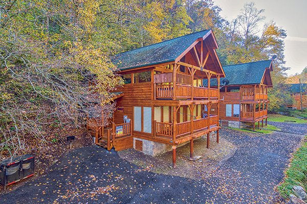 Front exterior view at Smokey Max Cabin, a 2 bedroom cabin rental located in Pigeon Forge