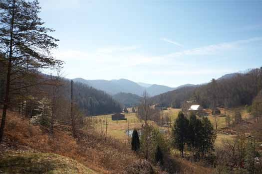 Looking into the valley below Eagle's Loft, a 2-bedroom cabin rental located in Pigeon Forge