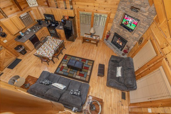 Aerial view of the living room at Autumn Blessings, a 2 bedroom cabin rental located in Pigeon Forge
